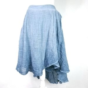 Anthro Tina Jo Blue Ombre Heathered Gauze Skirt
